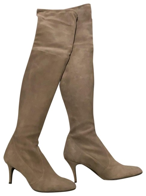 Item - Grey/Beige High Suede Leather Boots/Booties Size EU 38.5 (Approx. US 8.5) Regular (M, B)