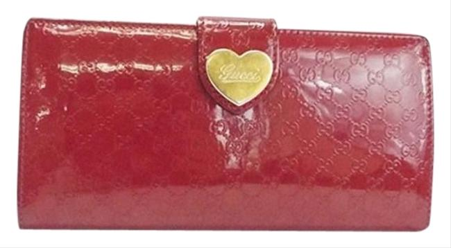 Item - Red Long Micro Sima Hook Lovely Heart Plate Gg Pattern Patent Leather Enamel 203550 Wallet