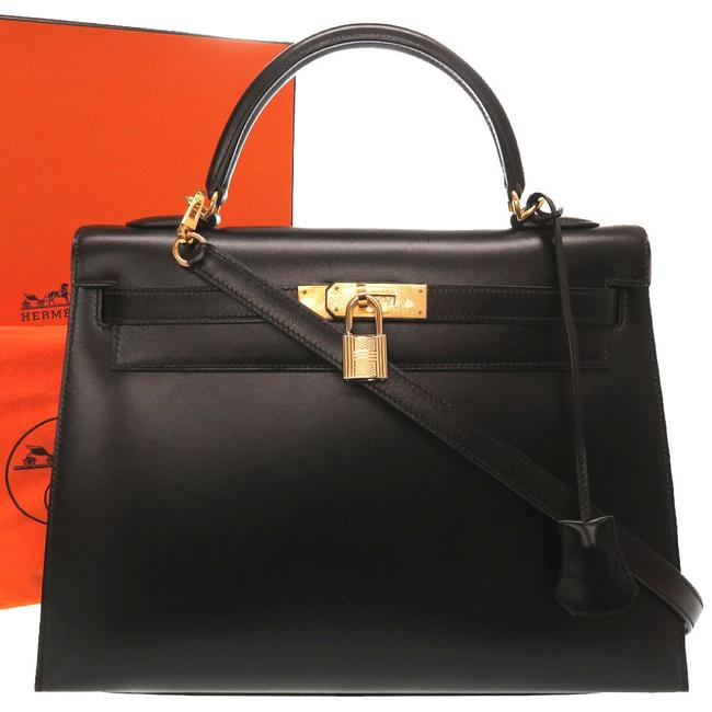 Item - Kelly 32 Guilloche Outer Stitching Women's Handbag Black Box Calf Leather Satchel