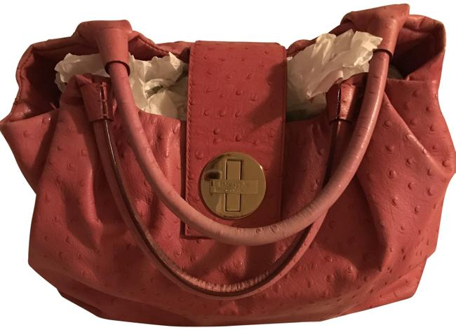 """Item - Stevie """"Ostrich"""" Texture Pink Leather Tote"""