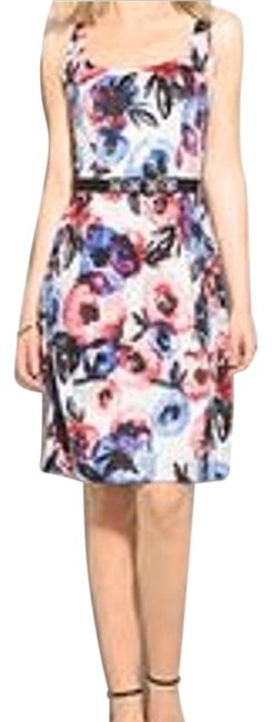 Item - Multicolor Luxe Floral Watercolor Belted Short Cocktail Dress Size 8 (M)