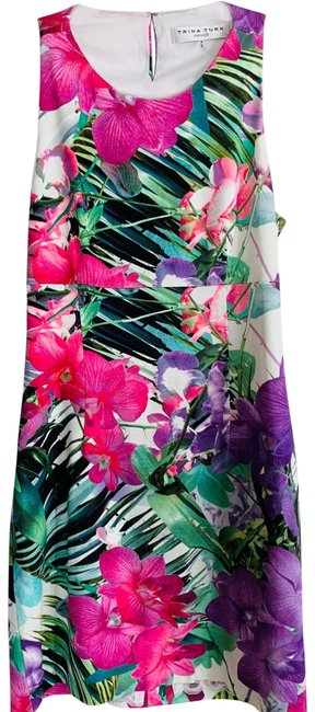 Item - Multicolor Tropical Floral Bodycon Cocktail Short Casual Dress Size 8 (M)