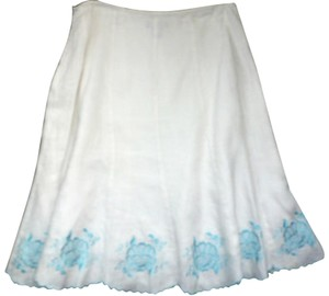 Ann Taylor Linen Embroidered Lined Floral Scalloped Skirt White