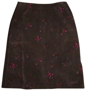 Ann Taylor Suede Embroidered Straight Pencil Italian Leather Lined Skirt Brown