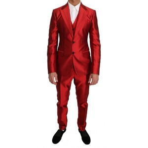 Dolce&Gabbana Red D1180 Silk Slim Fit 3 Piece Two Button Suit Groomsman Gift