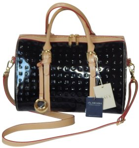 Arcadia Patent Leather Embossed Monogram Made In Italy Tote in Black / Natural