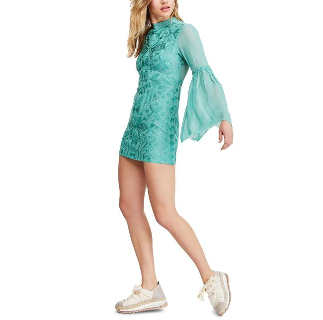 Item - Green Sheer Embroidered Cleo Mini Short Night Out Dress Size 6 (S)
