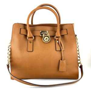 Michael Kors Saffiano Leather Satchel Gold-tone Leather Tote in Brown