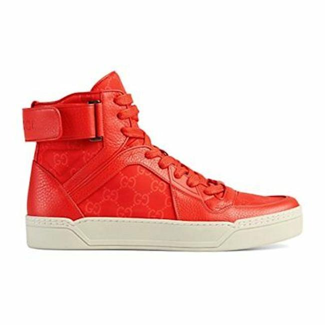 Item - Red Hitop Leather Nylon Gg Eu 44 Sneakers Size US 12 Regular (M, B)