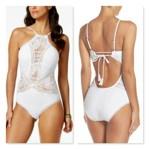 Becca by Rebecca Virtue Becca Prairie Rose High-Neck Crochet One-Piece Swimsuit