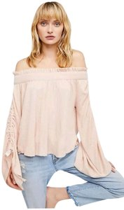 Free People Cherry Blossom Ruched Cashmere Spandex Top Pink