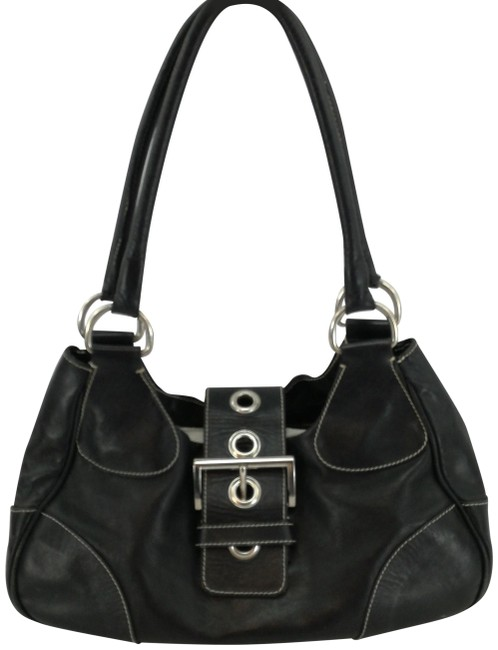 Prada Shoulder Black Lambskin Leather Hobo Bag Prada Shoulder Black Lambskin Leather Hobo Bag Image 1