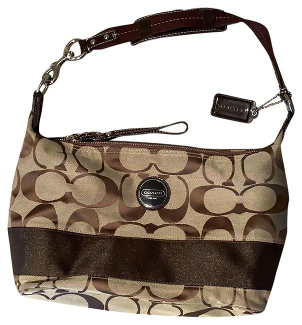 Item - Hobo Signature Stripe Purse Brown Tan Silver Canvas Leather Baguette