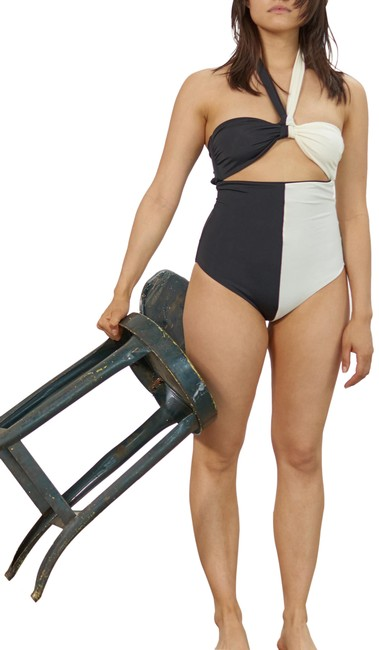 Item - Black/White Two Tone Cleo Maillot Swimsuit One-piece Bathing Suit Size 16 (XL, Plus 0x)