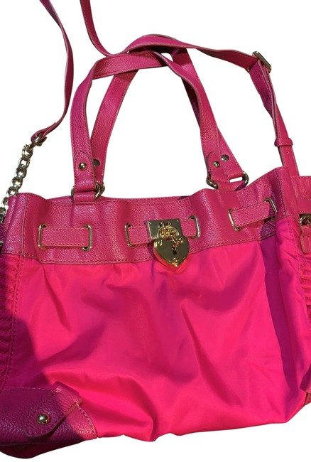 Item - Tote Hot Pink with Gold Hardware Canvas Hobo Bag