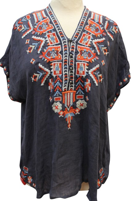 Item - Gray Multi L /Johnny Was Corinne Embroidered Linen Tunic Blouse Size 14 (L)
