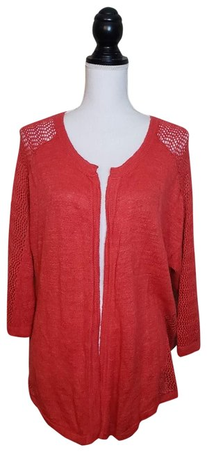 "Item - ""Monrovia Pointelle"" Cardigan Burnt Orange Sweater"