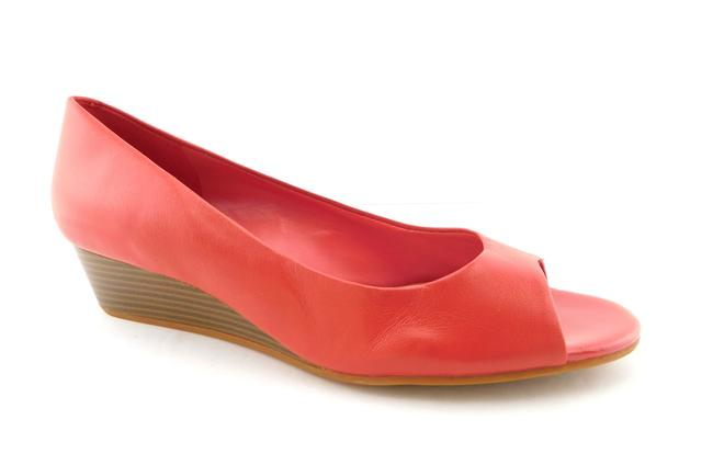 Item - Red Leather Open Toe Wedges Size US 8.5 Regular (M, B)