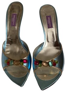 Emilio Pucci Metallic Blue Sandals