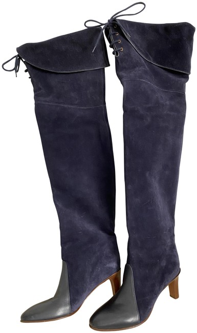 Item - Blue Navy Lagoon Suede Leather Laced Over Knee Boots/Booties Size EU 36 (Approx. US 6) Regular (M, B)