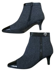 Impo Ankle Patent Leather Fabric Zipper Grey Black Boots
