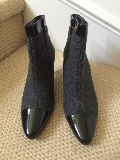 Impo Ankle Black Patent Leather Grey Fabric Zipper Grey Black Boots