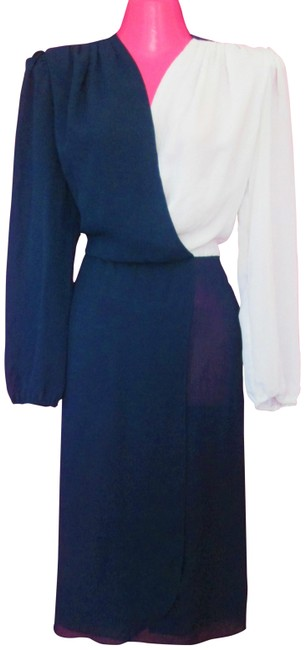 Item - Blue 1980s Colorblock Midi Small Mid-length Work/Office Dress Size 6 (S)