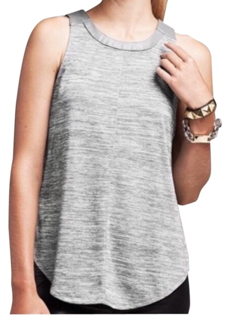 Item - Grey Faux Leather Trim Tank Top/Cami Size 0 (XS)
