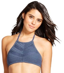 Xhilaration indigo crochet high neck bikini top