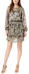 Michael Kors Michael Kors Printed Peasant Dress Blackgold Foil XL