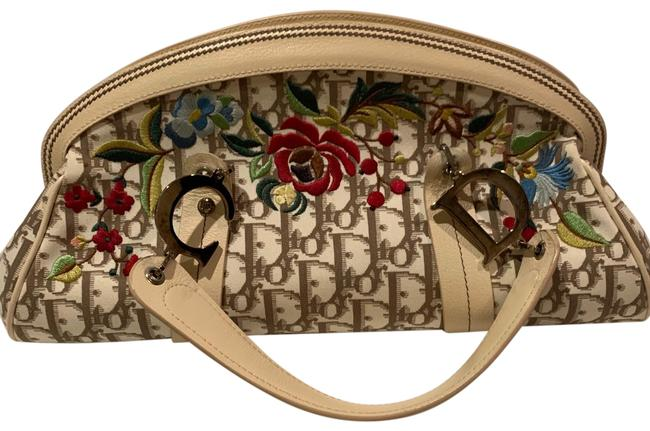 Item - Christian Embroidered Flowers Beige Canvas Satchel