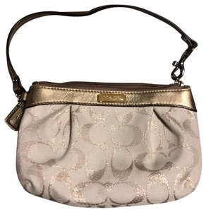 Coach Wristlet in Cream and Gold