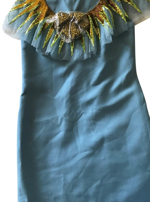 Item - Blue/Gold Mid-length Cocktail Dress Size 4 (S)