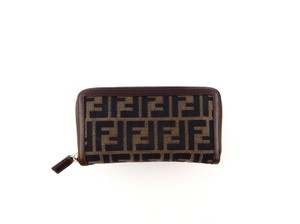 Fendi Zucca Monogram Canvas Leather Long Clutch Zippy Wallet
