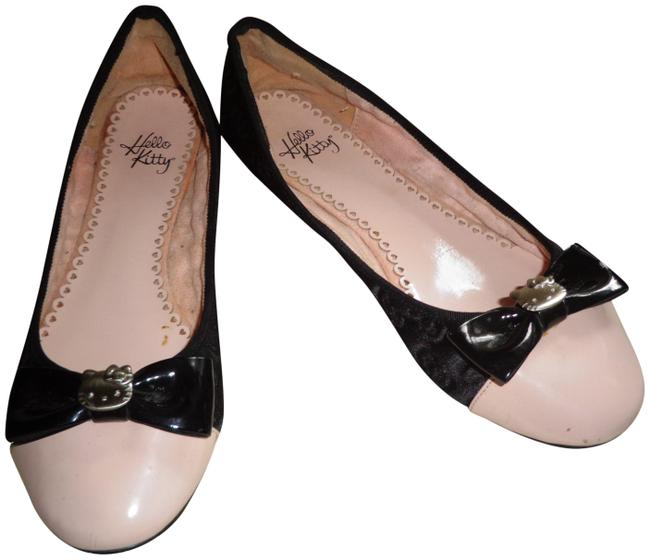 Item - Black and Pink Fabric Over Leather Ballet Flats Size US 9 Regular (M, B)