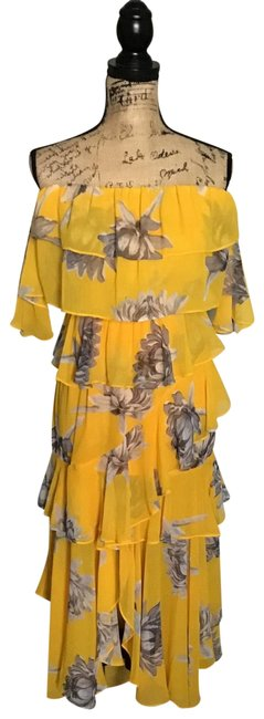 Item - Yellow with Brown Gray Flowers Mid-length Casual Maxi Dress Size 8 (M)
