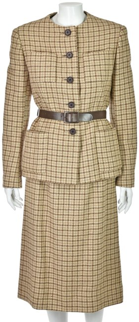 Item - Tan Norman Norell 1960s Skirt Suit Size 8 (M)