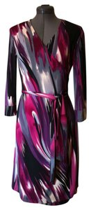 Kenneth Cole Reaction Wrap Three Quarter Sleeve Polyester Wrinkle Free Dress