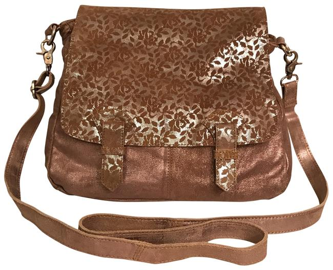 Item - Distressed Convertible Brown Rose Gold Silver Leather Cross Body Bag