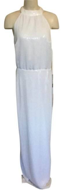 Item - Ivory Sequined Halter Gown Women Long Formal Dress Size 12 (L)