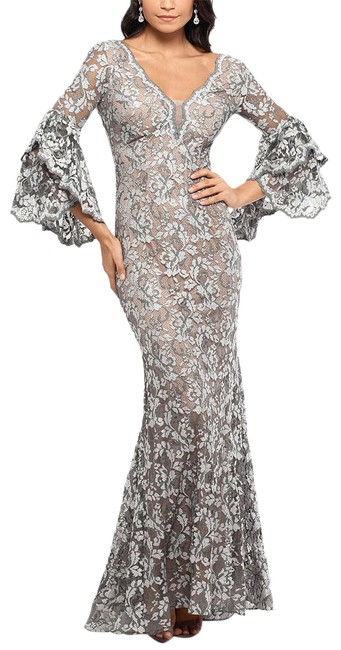 Item - Grey/Nude Embellished Lace Bell-sleeve Gown Grey/Nude Long Formal Dress Size 6 (S)