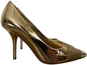 Burberry Leather Pointed Toe Runway Gold Pumps