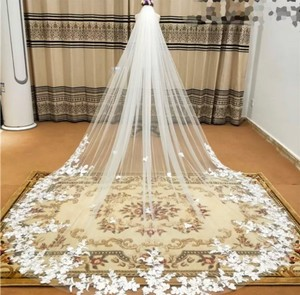 Long White Ivory 3m/10ft Lace Cathedral with Comb Bridal Veil