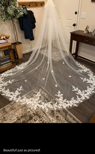 Long White Ivory 3m/10ft Lace Cathedral with Comb Bridal Veil Image 3