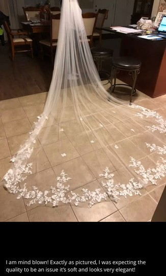 Long White Ivory 3m/10ft Lace Cathedral with Comb Bridal Veil Image 7