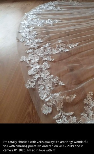 Long White Ivory 3m/10ft Lace Cathedral with Comb Bridal Veil Image 8
