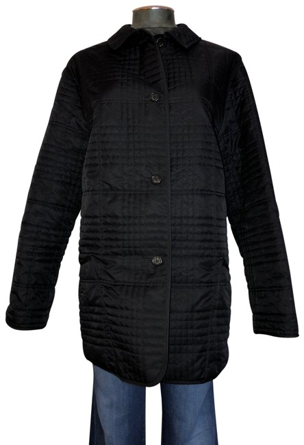 Item - Black Classic Check Plaid Quilted Midi Jacket Size 8 (M)