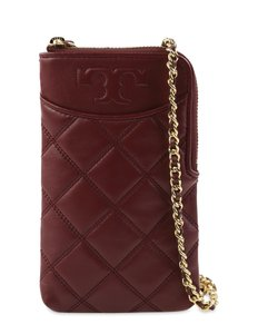 Tory Burch Burgundy Quilted Leather Cross Body Bag