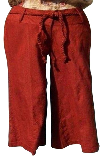 Item - Rust Raw Silk Removable Self Belt Crop New S Pants Size 6 (S, 28)