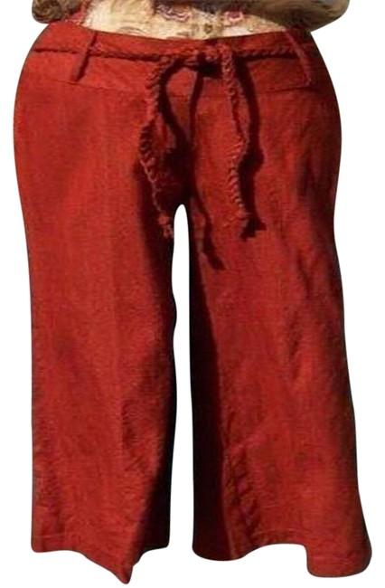 Item - Rust L Raw Silk Removable Self Belt Crop New 10/12 M/L Pants Size 10 (M, 31)